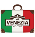 travel bag with italian flag and ponte di rialto vector image vector image