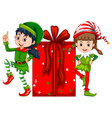 Two girls dressed in elf costume and red present vector image vector image