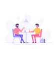 two male colleagues chatting during coffee break vector image vector image