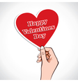 Valentine Heart word in hand vector image vector image