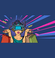 woman shopping on sale virtual reality vr glasses vector image vector image