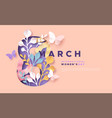 womens day 8 march pink papercut spring card vector image