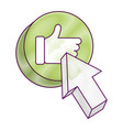 arrow with like hand button icon vector image vector image