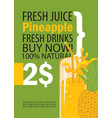 banner with pineapple and a glass of juice vector image