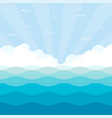 blue wave landscape with sky vector image vector image