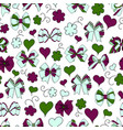 bow ribbon heart flowers seamless pattern vector image vector image