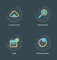 cloud files searching web world news set 4 vector image