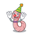 clown worm mascot cartoon style vector image vector image