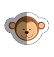 color sticker with monkey head and middle shadow vector image vector image