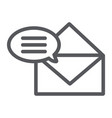 correspondence line icon email and mail envelope vector image vector image