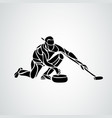curling athlete isolated silhouette woman vector image vector image