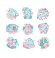 cute cartoon baby animals sleeping set sweet vector image vector image