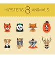 Cute fashion Hipster Animals set 1 of icons vector image vector image