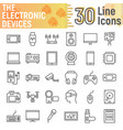 electronic devices line icon set media symbols vector image vector image