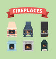 fireplace retro gas stove flame decoration in vector image vector image