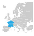 france marked by blue in grey political map of vector image vector image
