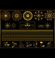 gold round ornaments and border on black vector image vector image