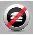 gray chrome button - no hamburger vector image vector image