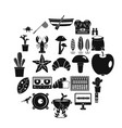 great food icons set simple style vector image vector image