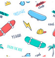 hand drawing skateboard and other icons seamless vector image vector image