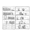 Hand drawn shelves Furniture sketch vector image vector image