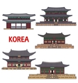 Historic temples and architecture of Korea vector image vector image