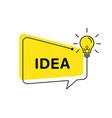 Idea banner light bulb and speech bubble isolated