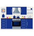 Kitchen with furniture flat vector image vector image