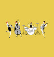 ladies jazz orchestra four flapper girls playing vector image vector image