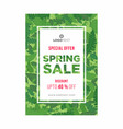 leafy green spring poster with white frame vector image