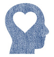 love in head fabric textured icon vector image vector image