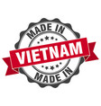 made in vietnam round seal vector image vector image