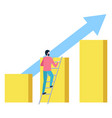 man standing on ladder and rising to top graphs vector image vector image