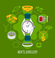 mens jewelry round composition vector image