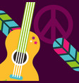 musical guitar feathers peace and love sign hippie vector image vector image