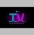 neon lights alphabet tv t v letter logo icon vector image vector image