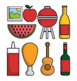 picnic related icons vector image vector image