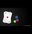 poker cards with colorful chips vector image vector image