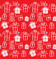 red seamless pattern of christmas presents vector image vector image