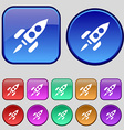 Rocket icon sign A set of twelve vintage buttons vector image