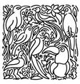 set exotic bird tropical jungle vector image