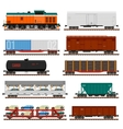set train cargo wagons tanks cars vector image