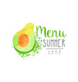summer menu logo design label with avocado for vector image vector image