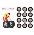 tire service car maintenance vector image vector image