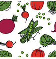 vegetables radish peas spinach seamless pattern vector image vector image