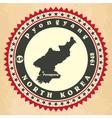 vintage label-sticker cards north korea vector image