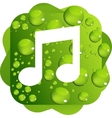 Water drops on green background music icon vector image