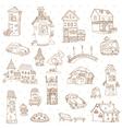 Scrapbook Design Elements - Small Town Doodles vector image