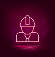 architect construction worker neon icon vector image vector image
