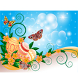 background with butterflies and flowers vector image vector image